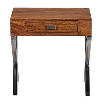 WOHNLING Nachttisch Massiv-Holz Sheesham Nacht-Kommode 45 cm 1 Schublade mit Metallbeine Nachtschrank Landhaus-Stil Echt-Holz Nachtköstchen dunkel-braun Nacht-Konsole Natur-Produkt Schlafzimmer-Möbel -
