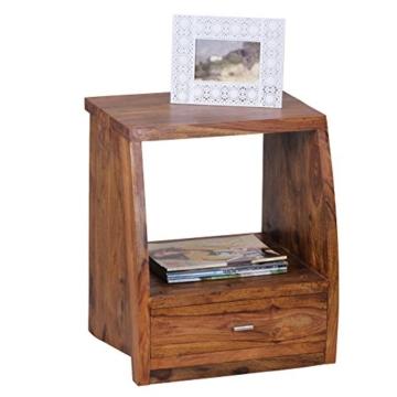 WOHNLING Nachttisch Massiv-Holz Sheesham Nacht-Kommode 53 cm mit 1 Schublade und Ablage Nachtschrank Landhaus-Stil Echt-Holz Nachtköstchen dunkel-braun Nacht-Konsole Natur-Produkt Schlafzimmer-Möbel -